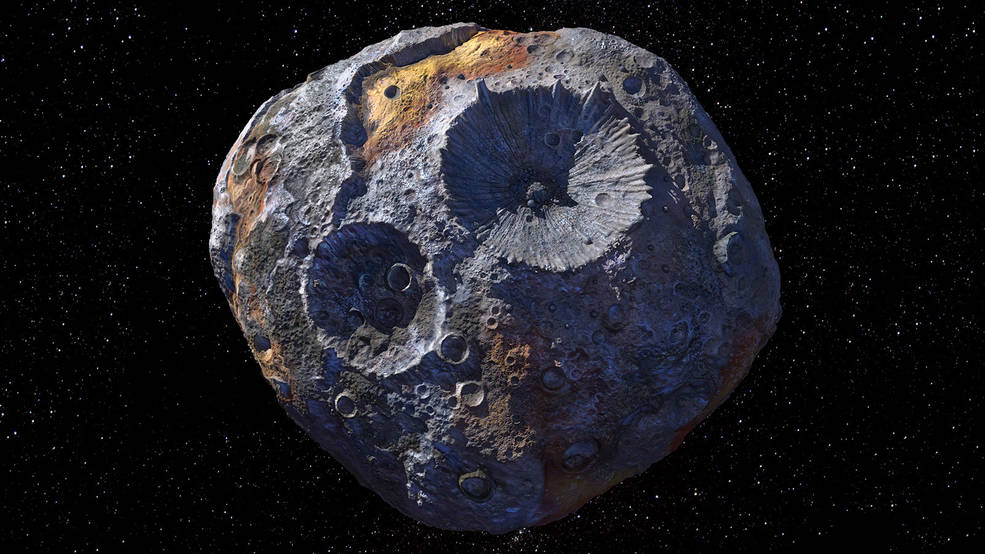 Изображение астероида Психея в представлении художника.